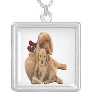 Cocker spaniels art silver plated necklace