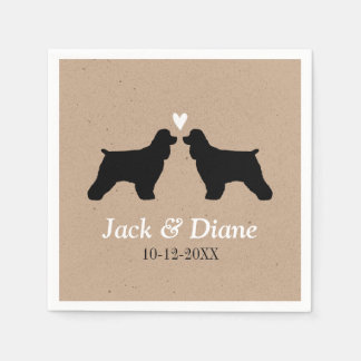 Cocker Spaniels Wedding Couple with Custom Text Paper Napkins