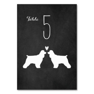 Cocker Spaniels Wedding Table Number Card