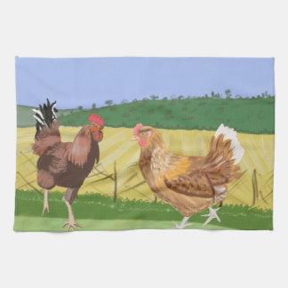 Cockerel and Chicken Kitchen Towel
