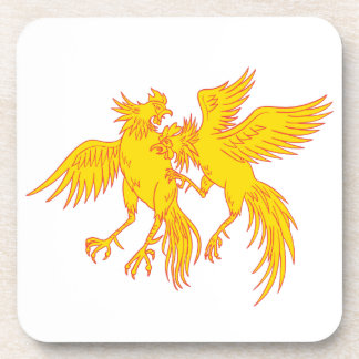 Cockfighting Roosters Cockerel Drawing Coaster