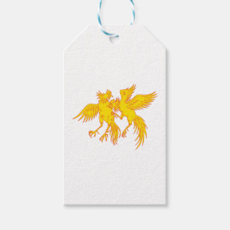 Cockfighting Roosters Cockerel Drawing Gift Tags