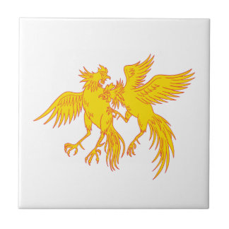 Cockfighting Roosters Cockerel Drawing Tile