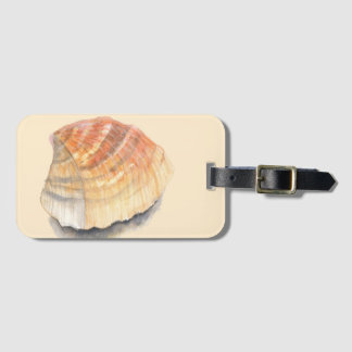 Cockle seashell, orange and yellow from the Beach Luggage Tag