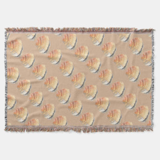 Cockle seashell, orange and yellow from the Beach Throw Blanket
