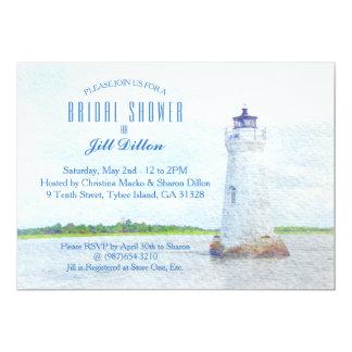 Cockspur Lighthouse Watercolor Bridal Shower Card