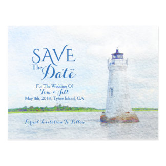 Cockspur Lighthouse Watercolor Photo Save The Date Postcard