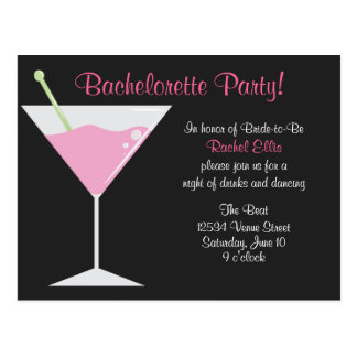 Cocktail Bachelorette Party Postcard