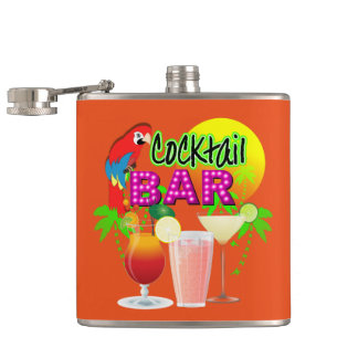 Cocktail Bar Exotic Tropical Summer Sun Graphic Hip Flask