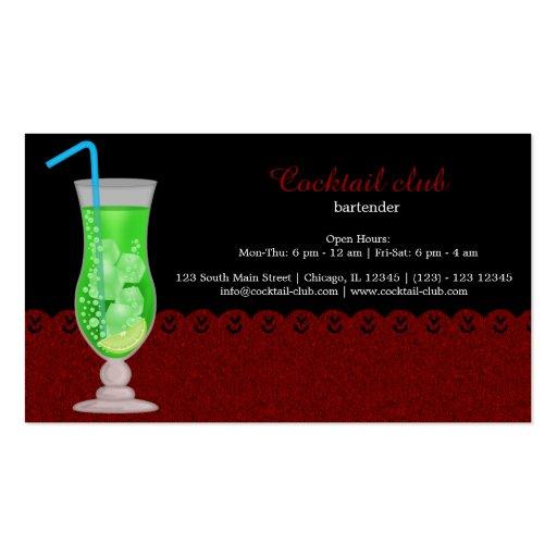Cocktail bartender business card template