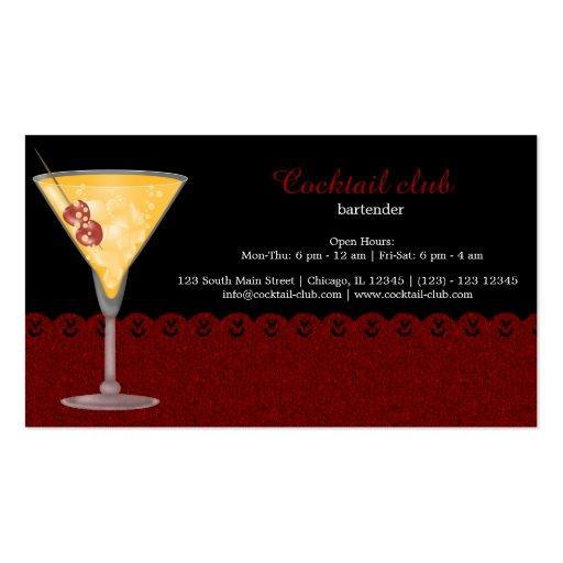 Cocktail bartender business cards