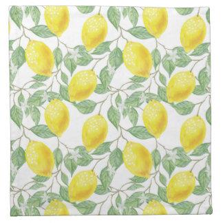 Cocktail Cloth Napkins with Lemon Print
