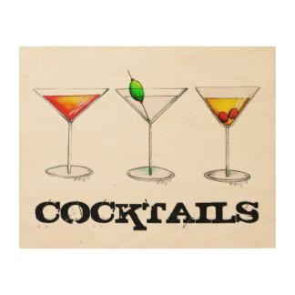 Cocktail Cosmo Martini Manhattan Bar Kitchen Drink Wood Wall Decor