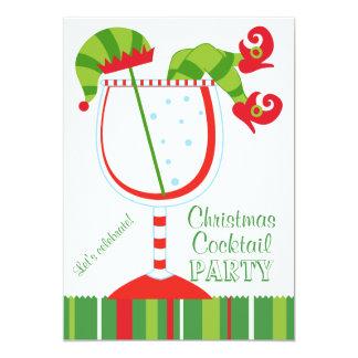 Cocktail d'Elf de Noël Carton D'invitation 12,7 Cm X 17,78 Cm