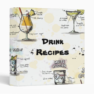 Cocktail Drink Recipe Design Binder