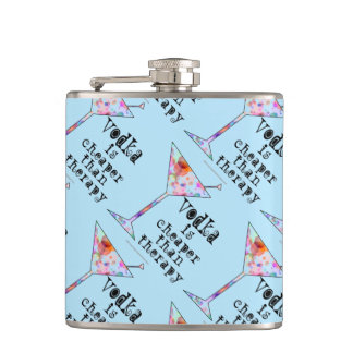 COCKTAIL FLASK - VODKA IS CHEAPER THAN THERAPY