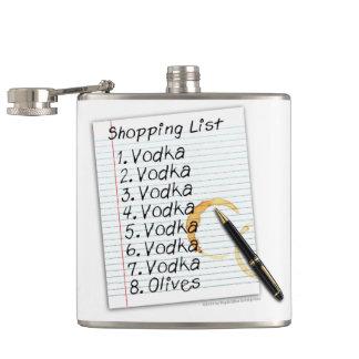 COCKTAIL FLASK, VODKA SHOPPING LSIT FLASK