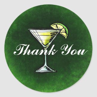 Cocktail Gin and tonic Thank You Classic Round Sticker