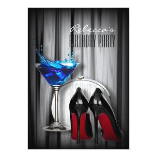 cocktail girly stylet unique rouge de martini carton d'invitation  12,7 cm x 17,78 cm