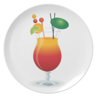 COCKTAIL GLASS PARTY PLATE
