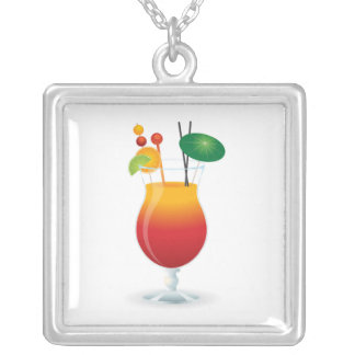COCKTAIL GLASS SILVER PLATED NECKLACE