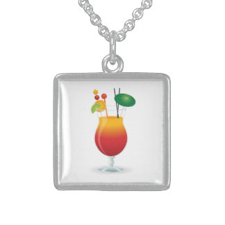 COCKTAIL GLASS STERLING SILVER NECKLACE