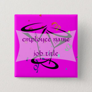 Cocktail Glasses Employee Name Tag 2 Inch Square Button