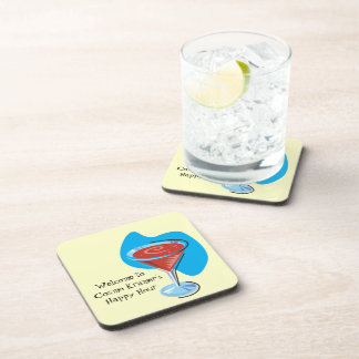 Cocktail Hour_retro-style Cosmo glass personalized Coaster