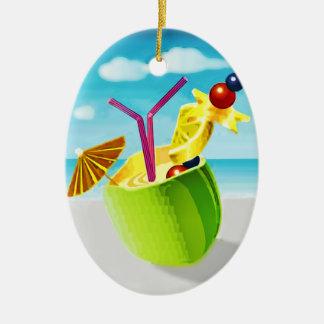Cocktail in a Coconut Ceramic Oval Ornament