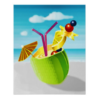 Cocktail in a Coconut Poster
