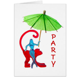 Cocktail Mermaid Monkey Party Card
