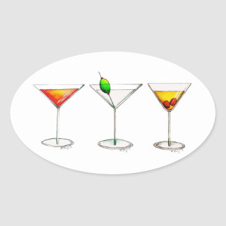 Cocktail Mixed Drinks Martini Cosmopolitan Cosmo Oval Sticker