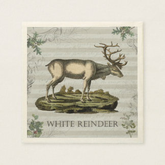Cocktail napkin with White Reindeer