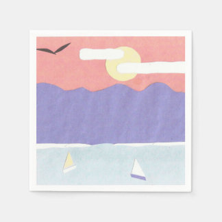 Cocktail Napkins with a Sunset Mountain Scene Paper Napkins