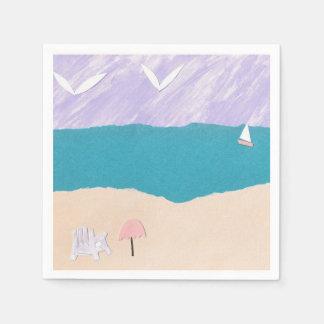 Cocktail Napkins with Beach Design Paper Napkins