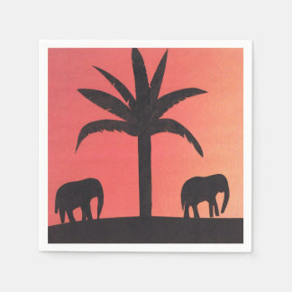 Cocktail Napkins with Elephant Design