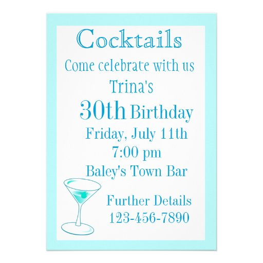 Cocktail Party Birthday Invitations