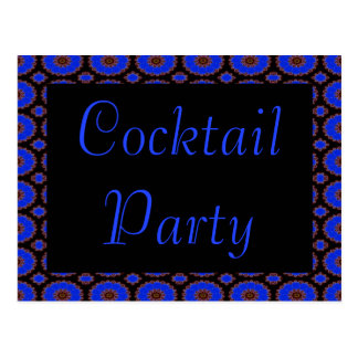 cocktail party blue flower invitation postcard