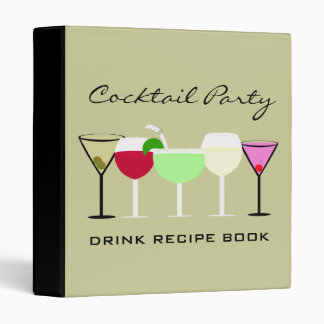 Cocktail Party Drink Recipe Book Vinyl Binders