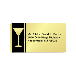 Cocktail Party Mailing Labels - Gold & Black