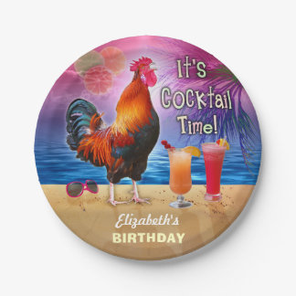 Cocktail Party Tropical Rooster Funny Birthday 7 Inch Paper Plate