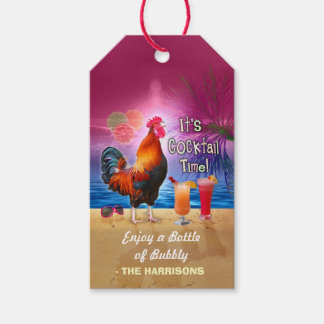 Cocktail Party Tropical Rooster Funny Birthday Gift Tags