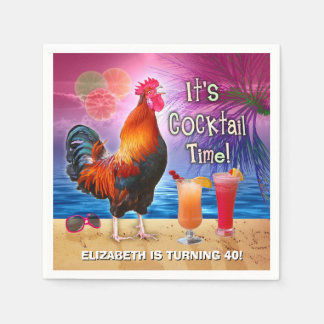Cocktail Party Tropical Rooster Funny Birthday Paper Napkins