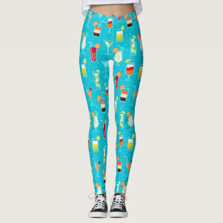 Cocktail Pattern on Teal Background Leggings