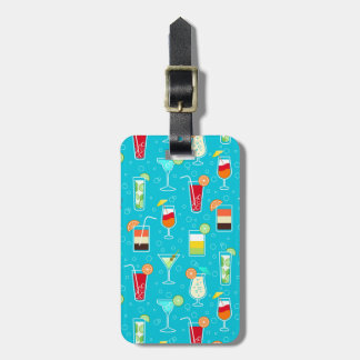 Cocktail Pattern on Teal Background Luggage Tag