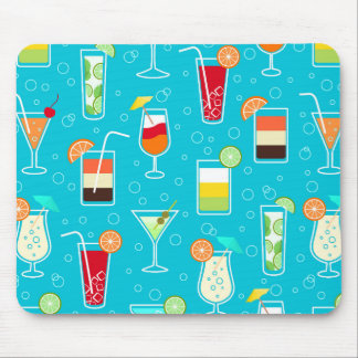 Cocktail Pattern on Teal Background Mouse Pad