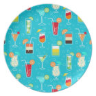 Cocktail Pattern on Teal Background Plate
