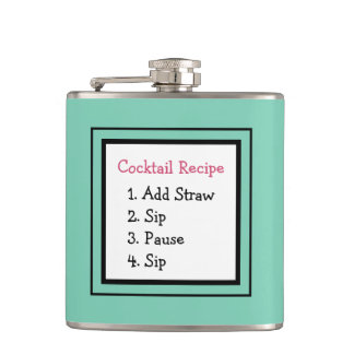 Cocktail Recipe Add Straw Funny Happy Hour Quote Hip Flask