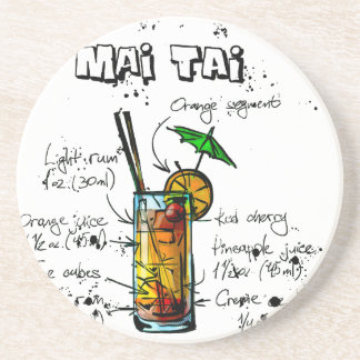 Cocktail Recipe Mai Tai Beverage Coasters