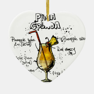 Cocktail Recipe Pina Colada Ceramic Ornament